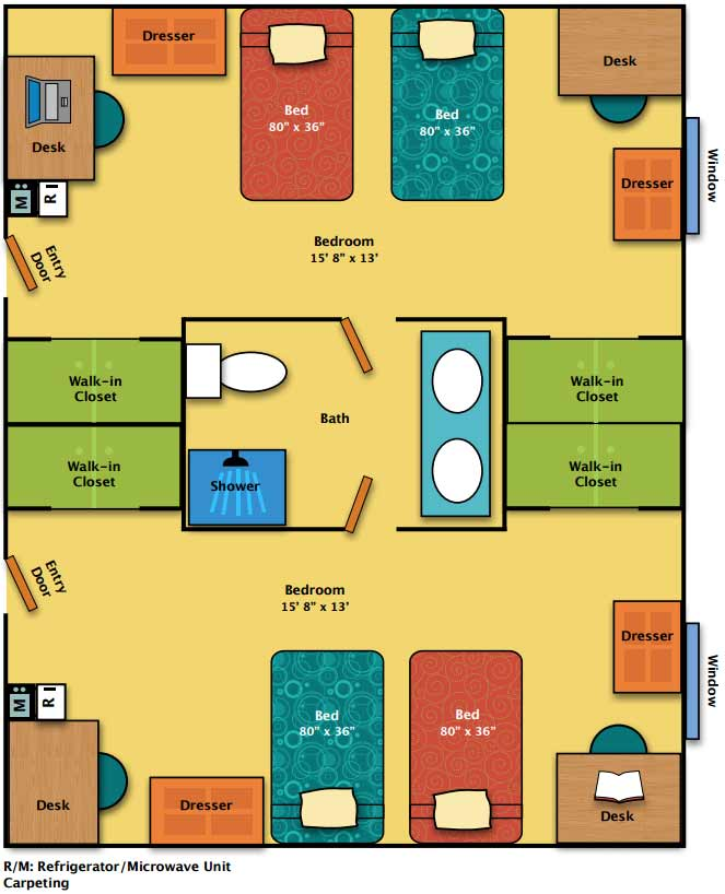 Mill Hall Pa >> Penn Gate I Floor Plan | Mont Alto | Housing & Food Services